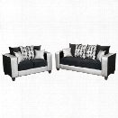 Flash Furniture 2 Piece Implosion Velvet Sofa Set in Black and Silver