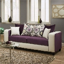 Flash Furniture Implosion Velvet Sofa in Purple and White