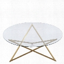 Maklaine Round Glass Top Coffee Table in Brushed Gold