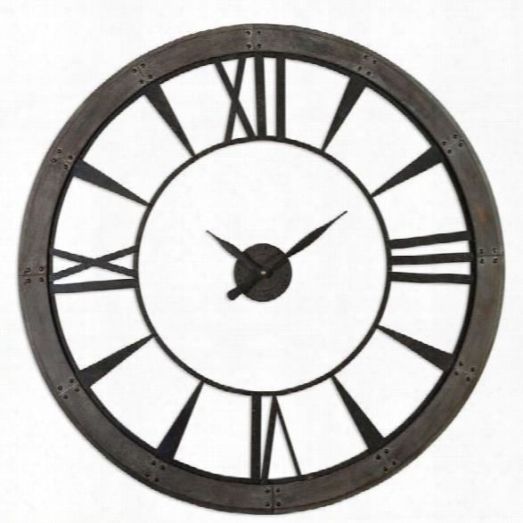 Uttermost Ronan 60 Inch Wall Clock In Dark Rustic Bronze