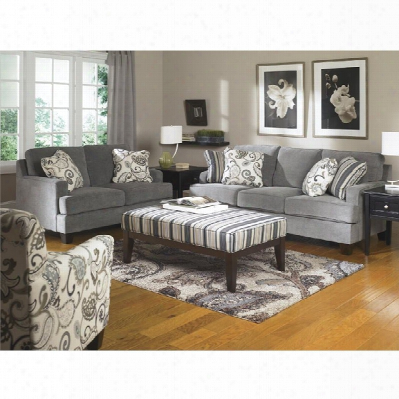 Ashley Yvette 4 Piece Sofa Set In Steel