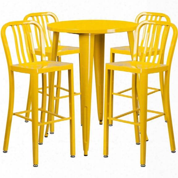 Flash Furniture 5 Piece 30 Round Metal Patio Pub Set In Yellow
