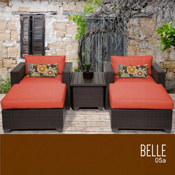 Tkc Belle 5 Piece Patio Wicker Conversation Set In Orange
