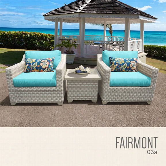 Tkc Fairmont 3 Piece Patio Wicker Conversation Set In Turquoise
