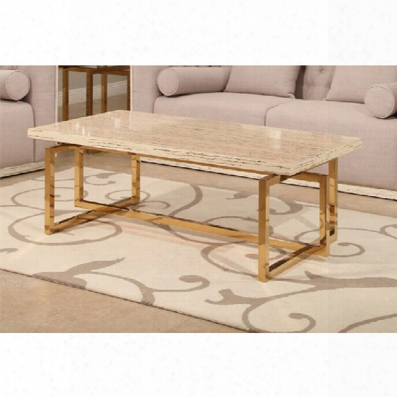 Abbyson Living Eaton Stainless Steel Coffee Table In Beige