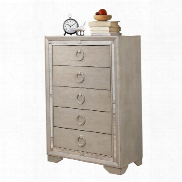 Abbyson Living Grayson Mirrored 5 Drawer Chest In Gray