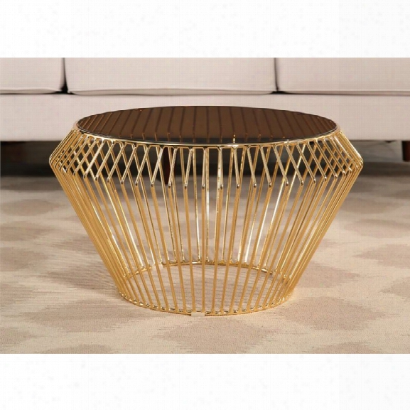 Abbyson Living Pearl Stainless Steel Coffee Table In Rose Gold