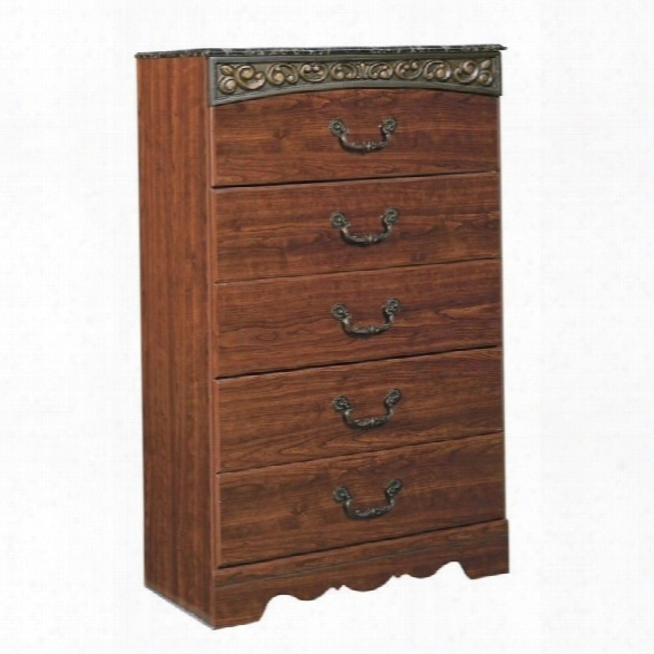 Ashley Fairbrooks Estates 5 Drawer Wood Chest In Brown