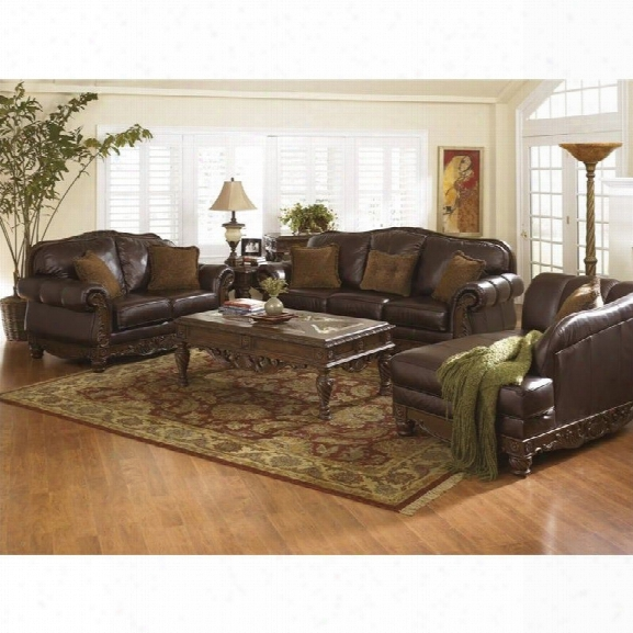 Ashley North Shore 3 Pjece Leather Sofa Set With Chaise In Dark Brown