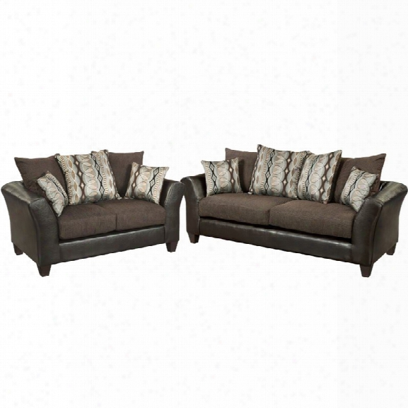 Flash Furniture 2 Piece Jefferson Faux Leather Sofa Set In Sable Brown