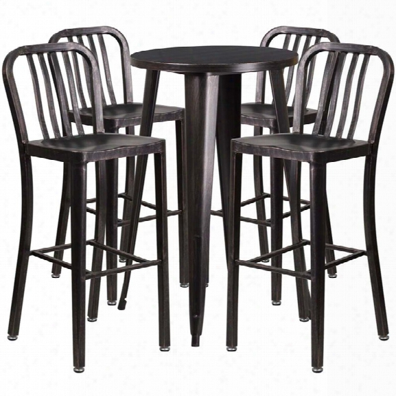 Flash Furniture 5 Piece 24 Round Metal Patio Pub Set In Black Gold