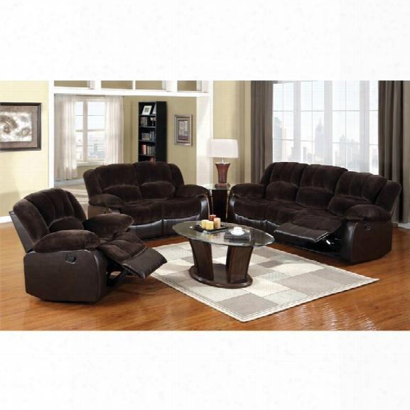 Furniture Of America Briggs 3 Piece Sofa Set In Chocolate And Espresso