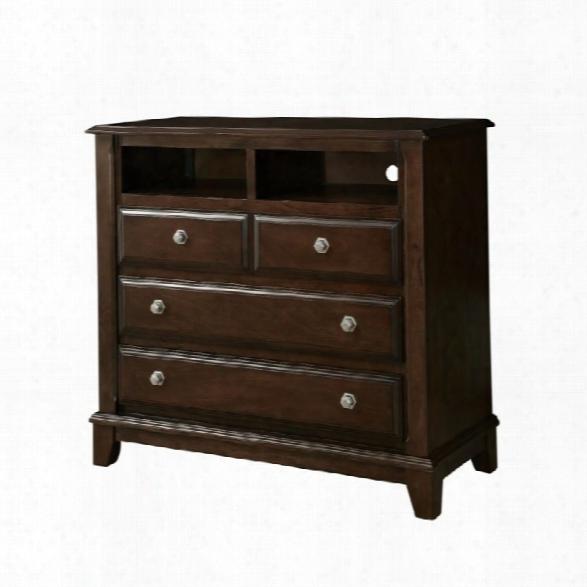 Furniture Of America Glinda Media Chest In Brown Cherry