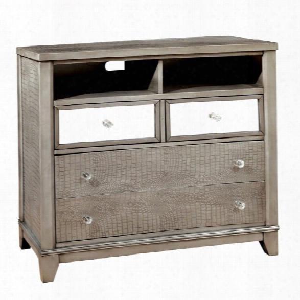 Furniture Of America Lillianne Mirror Panel Media Chest In Silver