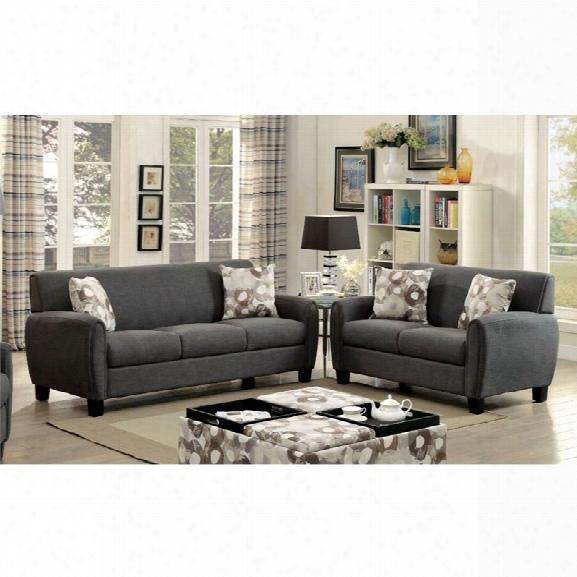 Furniture Of America Sorriana 3 Piece Sofa Set In Gray