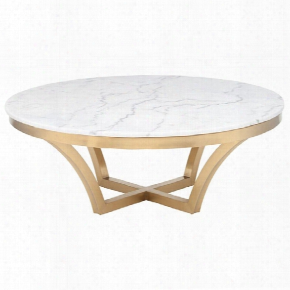 Nuevo Aurora Round Marble Top Coffee Table In Gold And White