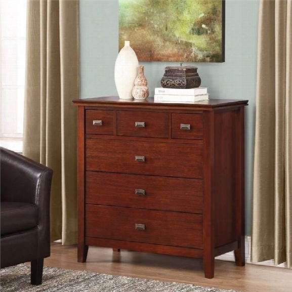 Simpli Home Artisan 6 Drawer Bedroom Chest In Auburn Brown