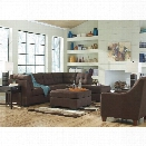 Ashley Maier 3 Piece Right Fabric Chaise Sectional Sofa Set in Walnut