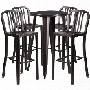 Flash Furniture 5 Piece 24 Round Metal Patio Pub Set in Black Gold
