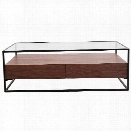 Moe's Dallas Glass Top Coffee Table in Brown