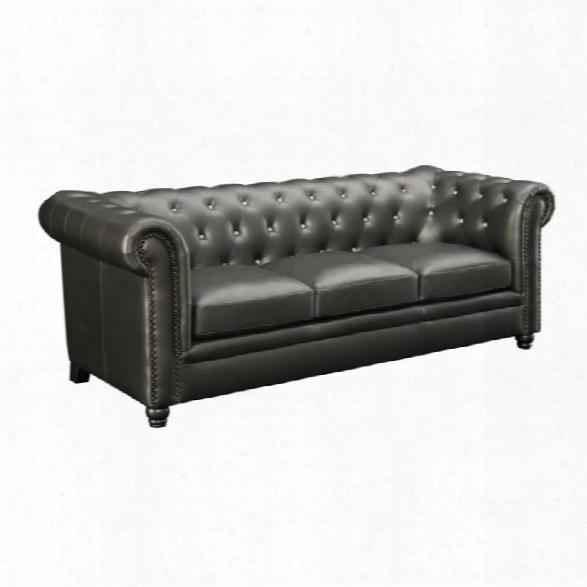 Coaster Roy Faux Leather Tufted Sofa In Gunmetal