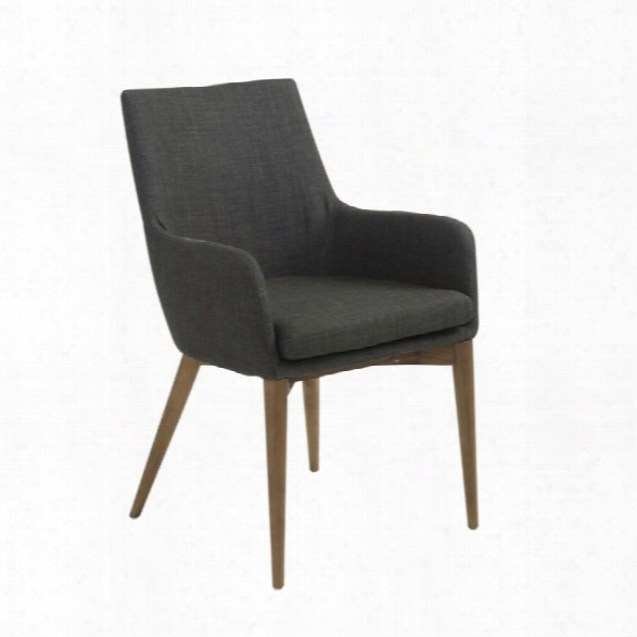 Eurostyle Calais Arm Chair In Charcoal (set Of 2)