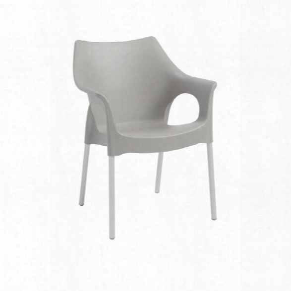 Eurostyle Ola Stacking Arm Chair In Gray (set Of 4)
