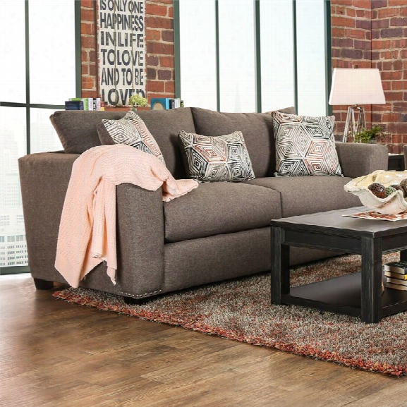 Furniture Of America Olivia Pillow Back Sofa In Brown