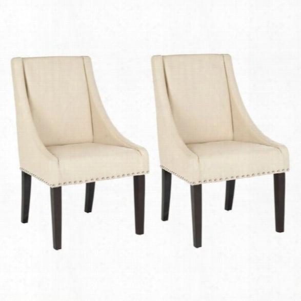 Safavieh Britannia Birch Kd Dining Chair In Cream (set Of 2)