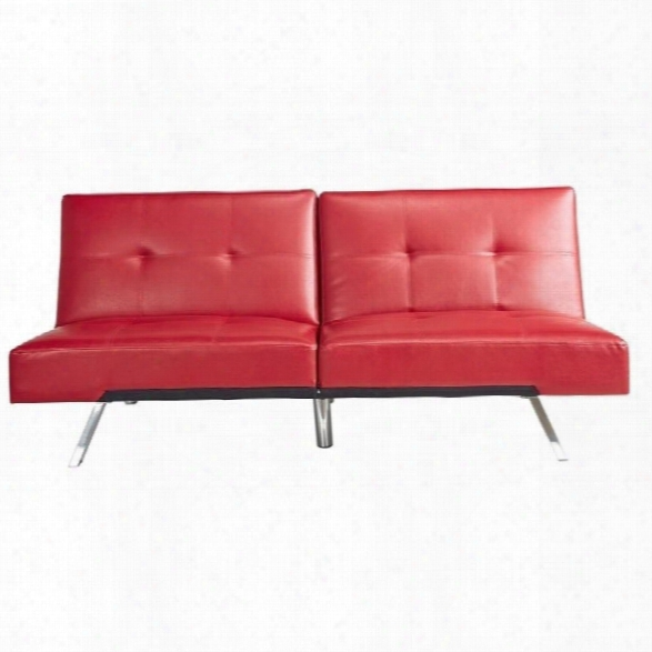 Abbyson Living Riley Leather Convertible Sofa In Red