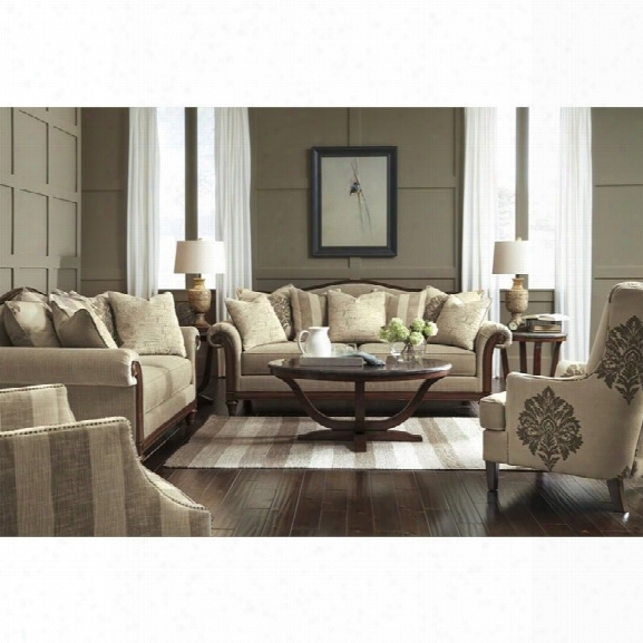 Ashley Berwyn View 4 Piece Fabric Sofa Set In Quartz