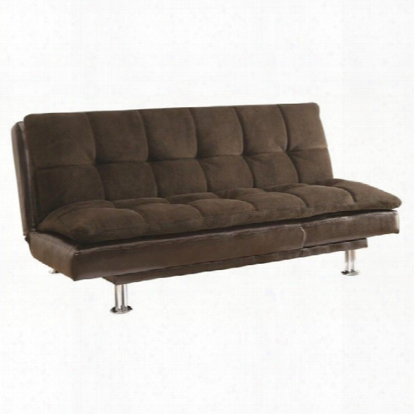 Coaster Extra Plush Convertible Armless Sofa Bed In 2-toned Brown