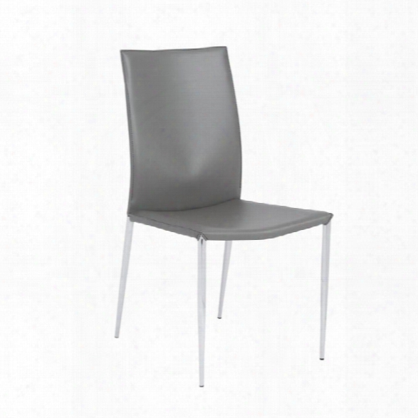 Eurostyle Max Dining Chair In Gray Leather (set Of 2)