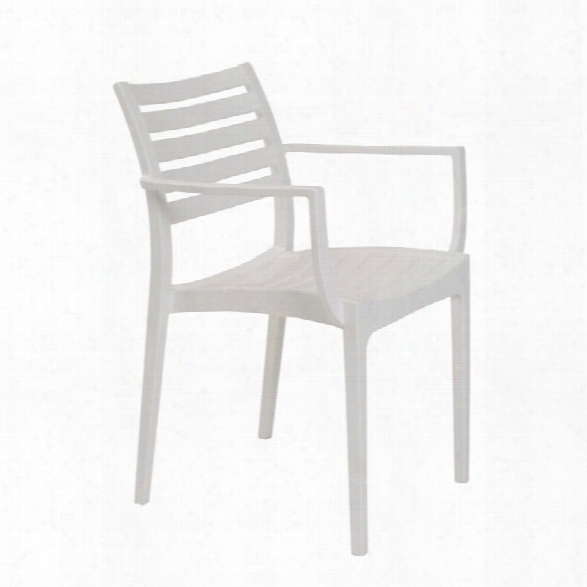 Eurostyle Morrow Stacking Arm Chair In White (set Of 4)