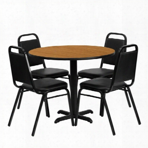 Flash Furniture 5 Piece Laminate Table Set In Black And Natural