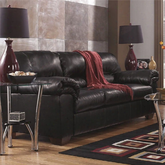 Flash Furniture Faux Leather Sofa In Black