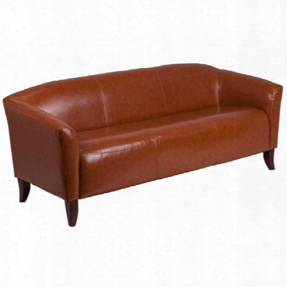 Flash Furniture Imperial Faux Leather Sofa In Cognac