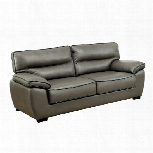Furniture Of America Hayley Faux Leather Sofa In Gray