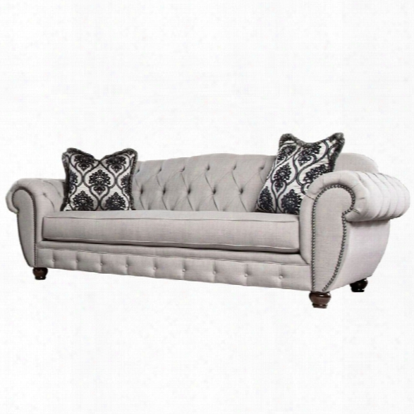 Furniture Of America Isabella Tufted Fabric Sofa In Gray