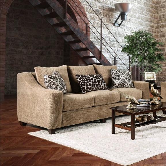 Furniture Of America Kimal Sloped Sofa In Mocha