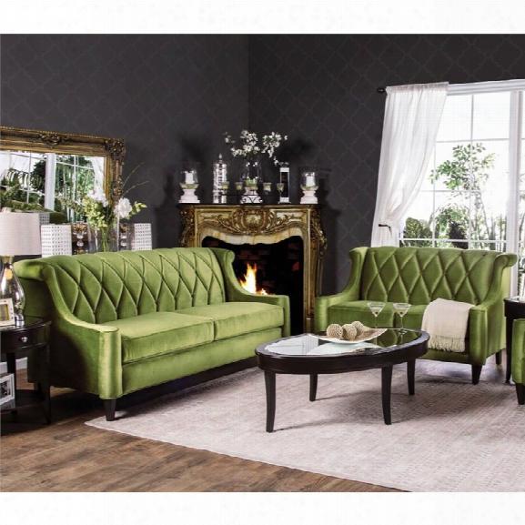 Furniture Of America Maryland 2 Piece Fabric Sofa Set In Green