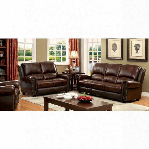 Furniture Of America Mattice 3 Piece Top Grain Leather Match Sofa Set