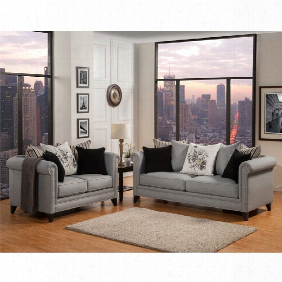 Furniture Of America Philson 2 Piece Upholstered Sofa Set In Gray