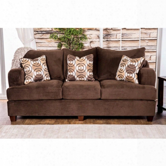 Furniture Of America Tremble Fabric Sofa In Chocolate