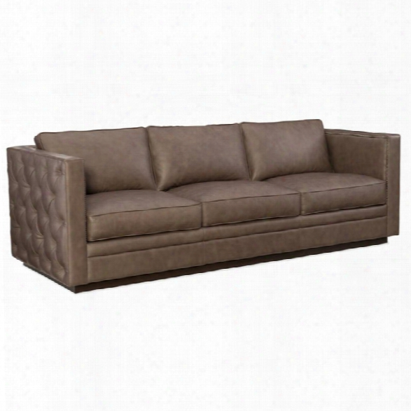 Hooker Furniture Lexie Stationary Leather Sofa In Brown