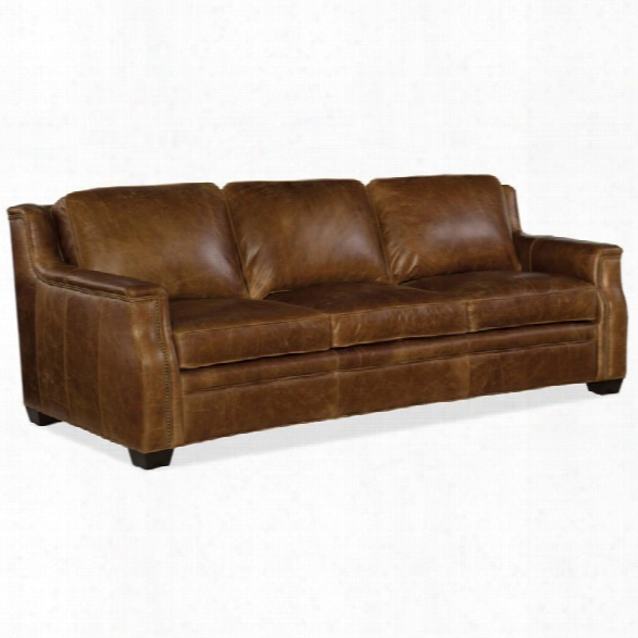 Hooker Furniture Yates Leather Sofa In Buckaroo Colt