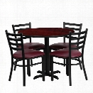 Flash Furniture 5 Piece Laminate Table Set Mahogany and Burgundy