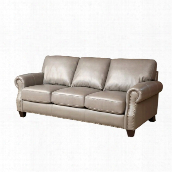 Abbyson Living Lenny Leather Sofa In Gray
