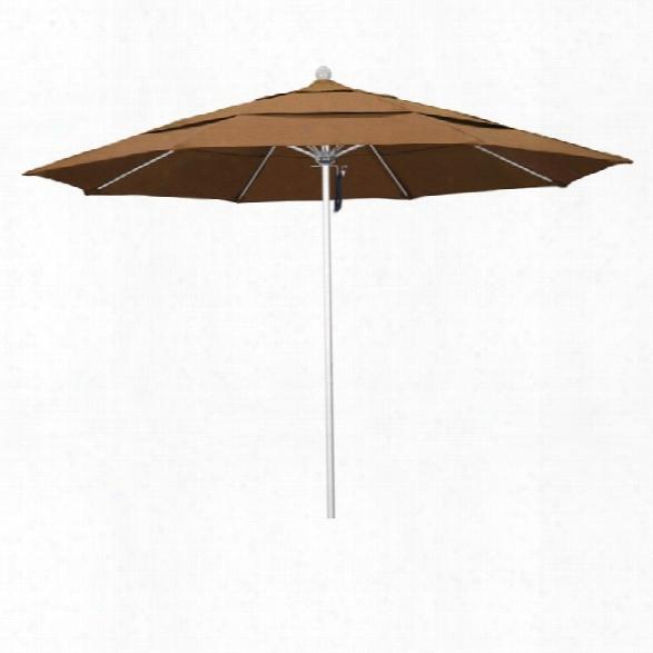 California Umbrella Venture 11' Silver Market Umbrella In Canvas Teak