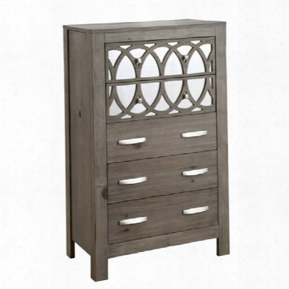 Furniture Of America Elyssa Mirrored 5 Drawer Chest In Rustic Natural Tone